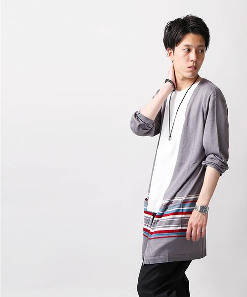 WEGO/ボタンレス5分袖ロングカーディガン