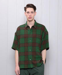 <H>COTTON CASHMERE BIG CHECK SHORT SLEEVE SHIRT/シャツ