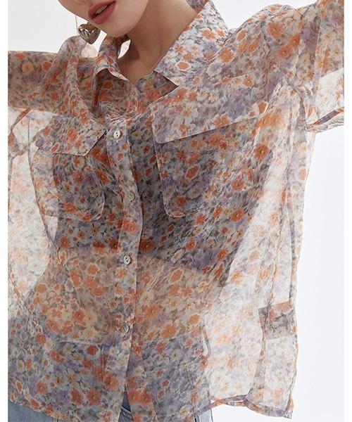 【Fano Studios】【2021SS】Flower print tulle shirt FX21S026