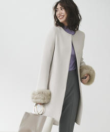 ◆CS W/N ファー付き ノーカラー コート