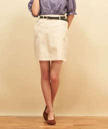 ベルト付ツイル台形スカートオフホワイト