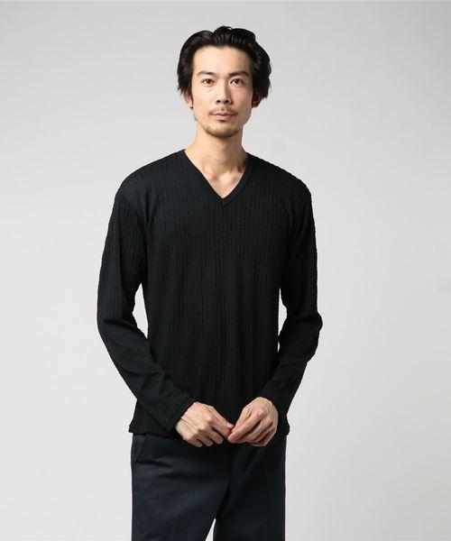 セマンティックデザイン/semantic design ミニケーブルVネック長袖ニットソーTシャツ(白・黒・サックスブルー)