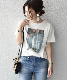 Khaju(カージュ)のKhaju:フラワーフォトプリントTEE(Tシャツ/カットソー)