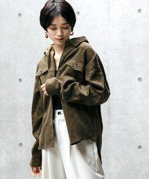 ビッグシルエットコーデュロイCPOシャツジャケットカーキ
