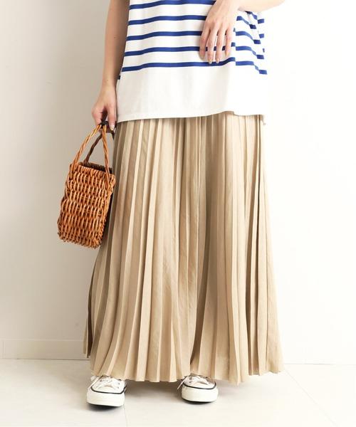 SLOBE IENA(スローブイエナ)の「リネンプリーツスカート【手洗い可能】◆(スカート)」|ベージュ
