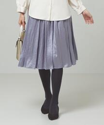 <closet story>□シャイニーサテン ギャザースカート -手洗い可能-