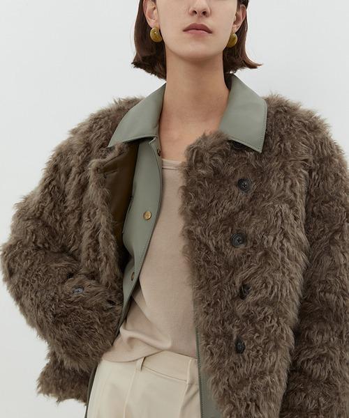 【UNSPOKEN】Collarless boa-fur jacket chw1454