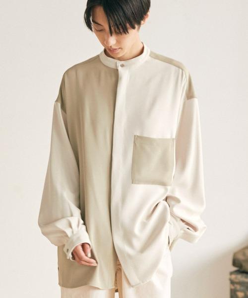 オーバーサイズ配色切替バンドカラーL/Sシャツ【EMMA CLOTHES/エマクローズ】2021SS