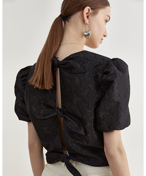 【Fano Studios】【2021SS】Back ribbon embossed tops FX21S049