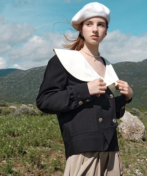 【Fano Studios】【2021AW】Flare sailor collar double jacket FQ21W086