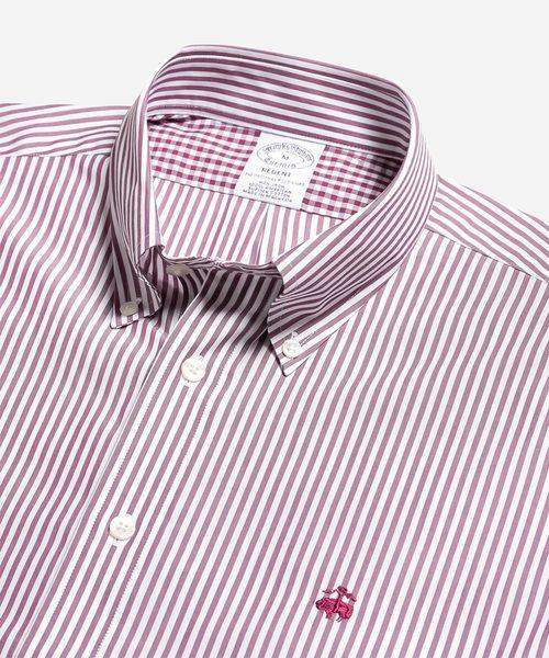 ノンアイロン GF ベンガルストライプ ショートスリーブ ボタンダウンシャツ Regent Fit