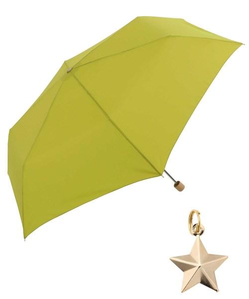 Wpc.(ダブルピーシー)の「【Wpc.】オンライン限定無地アンブレラ(晴雨兼用) スターチャームmini(折りたたみ傘)」|グリーン