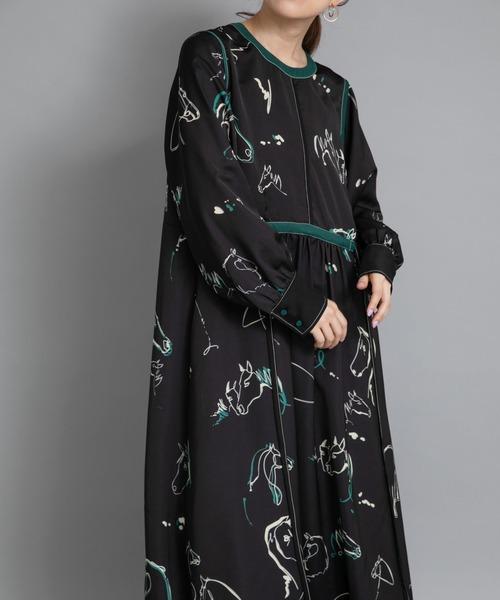Horse柄パイピングデザインドレス