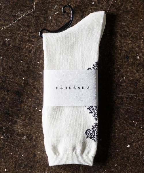 HARUSAKU(ハルサク)の「HARUSAKU:Damask Back Pattern Socks:ハルサク ダマスクバックパターン ソックス(ソックス/靴下)」|オフホワイト