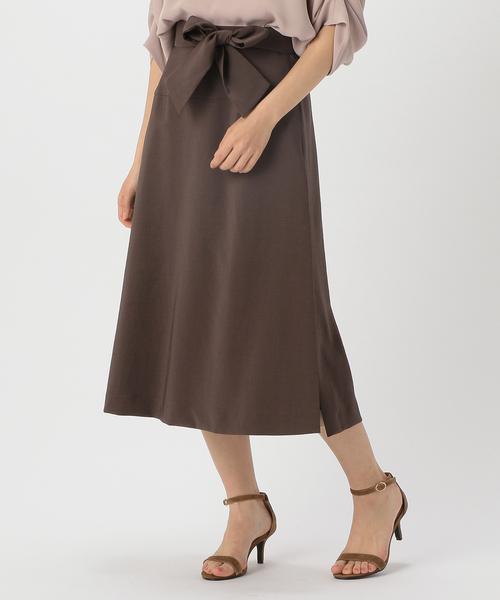 TIARA(ティアラ)の「サイドスリットチュールコンビスカート(スカート)」|ブラウン