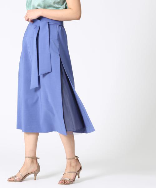 TIARA(ティアラ)の「サイドスリットチュールコンビスカート(スカート)」|サックスブルー
