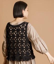 オリジナルフリンジ刺繍ベストブラック