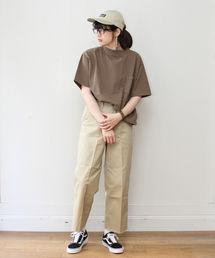 GOODWEAR / グッドウェア モックネック ショートスリーブTシャツブラウン