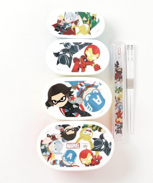 MARVEL 4PランチBOX&箸+ケース(ロゴ)