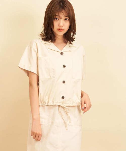 ツイル裾ドロストシャツ