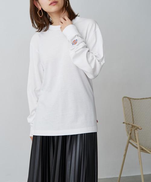 Dickies/ディッキーズ 別注 ロゴ刺繍 L/S オーバーサイズ コットン L/S Tシャツ