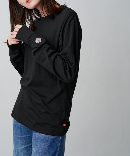 Dickies/ディッキーズ 別注 ロゴ刺繍 L/S オーバーサイズ コットン L/S Tシャツ/シンプルカットソー