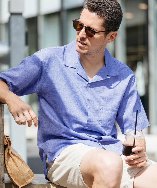 綿麻 オープンカラー 半袖シャツ