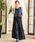 Fashion Letter(ファッションレター)の「レーストップスサイドプリーツセットアップ 結婚式ワンピース パンツドレス(ドレス)」|ネイビー