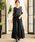 Fashion Letter(ファッションレター)の「レーストップスサイドプリーツセットアップ 結婚式ワンピース パンツドレス(ドレス)」|ブラック