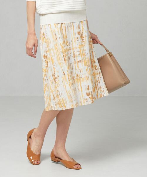 <closet story>□パステル ブラシプリント フレアスカート -手洗い可能-