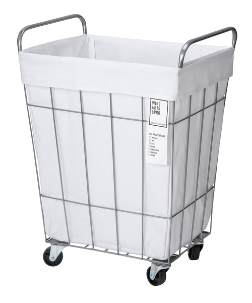 BRID(ブリッド)の「ブリッド 洗濯カゴ スクエア ランドリーボックス / BRID WIRE ARTS & PRO.laundry SQUARE BASKET WITH CASTER_45L(ランドリーグッズ)」|ホワイト