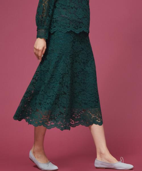 Rouge vif(ルージュヴィフ)の「カラーレーススカート(スカート)」|グリーン