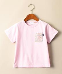 【キッズ】〔吸水速乾〕フラワーポケットTシャツ