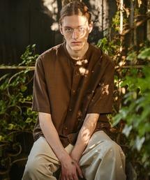 ブライトポプリンリラックスバンドカラーシャツ Poplin Band Collar Shirt 1/2 short sleeveダークブラウン
