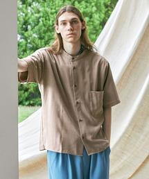 ブライトポプリンリラックスバンドカラーシャツ Poplin Band Collar Shirt 1/2 short sleeveベージュ