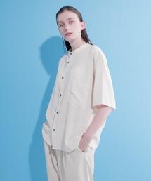 ブライトポプリンリラックスバンドカラーシャツ Poplin Band Collar Shirt 1/2 short sleeveベージュ系その他