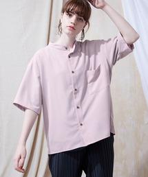 ブライトポプリンリラックスバンドカラーシャツ Poplin Band Collar Shirt 1/2 short sleeveパープル系その他