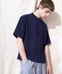 ブライトポプリンリラックスバンドカラーシャツ Poplin Band Collar Shirt 1/2 short sleeveネイビー