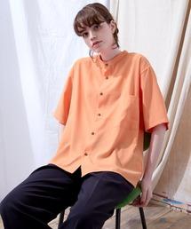 ブライトポプリンリラックスバンドカラーシャツ Poplin Band Collar Shirt 1/2 short sleeveオレンジ系その他