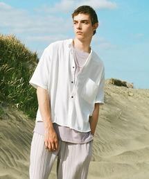 ブライトポプリンリラックスバンドカラーシャツ Poplin Band Collar Shirt 1/2 short sleeveオフホワイト