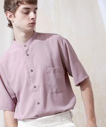 ブライトポプリンリラックスバンドカラーシャツ Poplin Band Collar Shirt 1/2 short sleeveスモークピンク