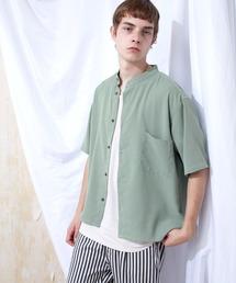 ブライトポプリンリラックスバンドカラーシャツ Poplin Band Collar Shirt 1/2 short sleeveライトグリーン