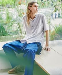 ブライトポプリンリラックスバンドカラーシャツ Poplin Band Collar Shirt 1/2 short sleeveライトグレー