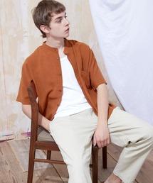 ブライトポプリンリラックスバンドカラーシャツ Poplin Band Collar Shirt 1/2 short sleeveテラコッタ