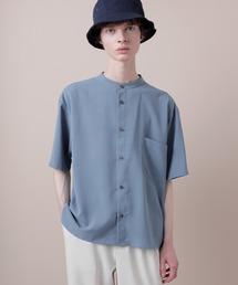 ブライトポプリンリラックスバンドカラーシャツ Poplin Band Collar Shirt 1/2 short sleeveライトブルー
