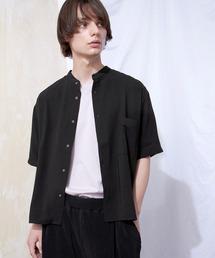 ブライトポプリンリラックスバンドカラーシャツ Poplin Band Collar Shirt 1/2 short sleeveブラック