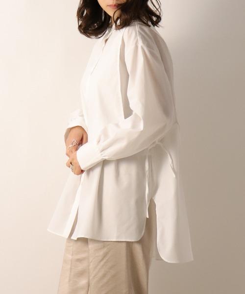 サイドリボンバンドカラーシャツ