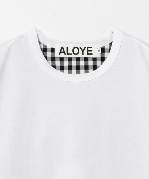 ALOYE / バック ギンガム Tシャツ