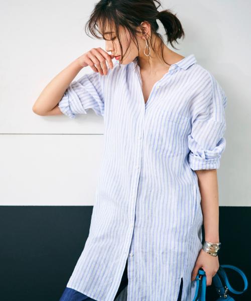 BARNYARDSTORM(バンヤードストーム)の「BARNYARDSTORM / ハイツイストリネンシャツ(シャツ/ブラウス)」|ホワイト×ブルー