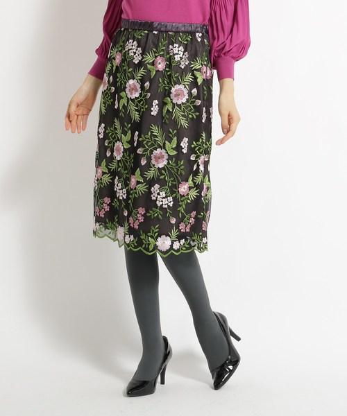 【売り切り御免!】 【洗える】花柄刺繍チュールスカート, チキチキ電子 6d091939